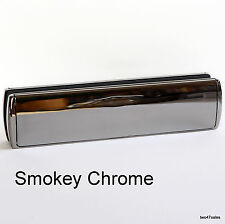 "12"" Deluxe SMOKEY CHROME Letter Box Plate Letterbox Letterplate Door Silver MID"