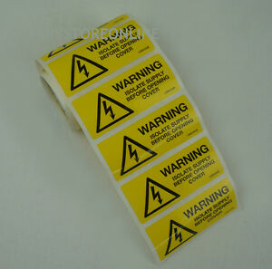 Electrical Warning Stickers Isolate Supply Elsewhere Before Opening
