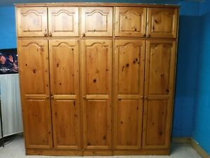 TALL SOLID WOOD 5DOOR WARDROBE WITH TOPBOX H235 W239 D57cm VISIT OUR WAREHOUSE