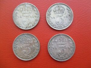 4 x 1919 silver threepence - George V - 0.925 sterling silver (ref 500)