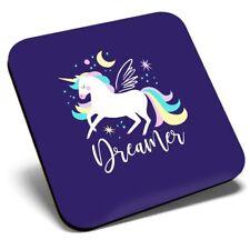 Square Single Coaster - Purple Galaxy Unicorn Dreamer  #16801
