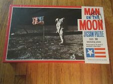 VINTAGE SAALFIELD MAN ON THE MOON JIGSAW PUZZLE BUZZ ALDRIN OLD GLORY SEALED