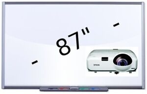 """87"""" SB685 INTERACTIVE SMART BOARD & EPSON SHORT THROW PROJECTOR PACKAGE"""