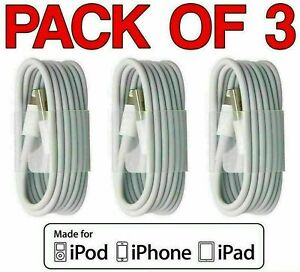 3 X USB iPhone Charger Fast For Apple Cable Lead 5 6 7 8 X XS XR 11 12 Pro Max