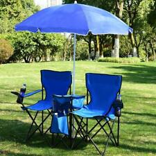 Foldable Picnic Beach Camping Double Chair+Umbrella Table Cooler Fishing Fold Up