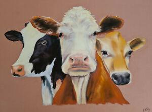 Original Artwork Pastel Painting - Cows 30 x 40cm