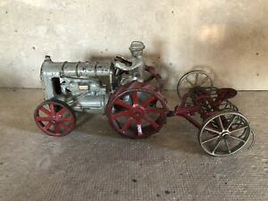 ARCADE toy fordson cast iron tractor with arcade tiller gray / red wheels tiller