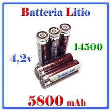 1 Batteria 14500 Stilo AA Ricaricabile Litio 4,2v Torcia Allarme