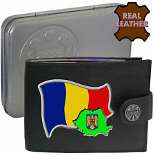 ROMANIA Mens Leather Wallet ROMANIAN Flag map and Emblem Mans gift Roumania Tin