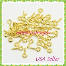 100pcs Gold Plated Bead Pendant Pin Bail Eye Screws Tips 8x4 Jewelry Findings