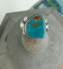 Mountain Turquoise, Silver, Size 12 Men's Native American Ring, Pilot