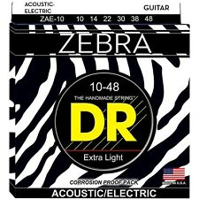 DR Strings ZAE-10 Zebra Lite Round Core Acoustic-Electric Guitar Strings 10-48