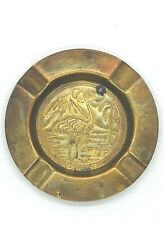 Vintage Egyptian Pharaoh Metal Ashtray Tobacciana Brass Folk Ornate Incense