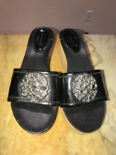 Coach Judith Womens Black Patent Leather Slides Sandals Wedge Heels Sz US 6 1/2