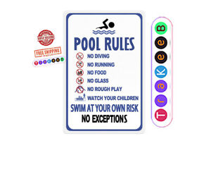 Swimming Pool US Rules Swim at Your Own Risk Warning Metal Safety Tin Signs Park