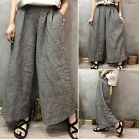 ZANZEA 8-24 Women Plaid Check Wide Leg Pants Culottes Loose Palazzo Trousers HOT