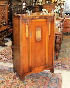 English Antique Art Deco 2 Doors Cabinet Wardrobe / Linen Cabinet