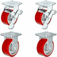 4 x 2 inch Heavy Duty Caster Set with Red Polyurethane on Steel Wheels, 800 poun