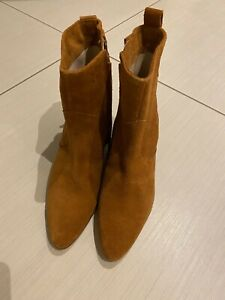 Brand New Zara Leather Ankle Boots Size 36
