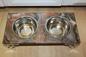 Raised Dog-Cat Feeding Table with 1QT Bowls - BROWN & BRONZE
