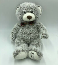 Fao Schwarz Plush Teddy Bear Stuffed Plush Animal Gray Plaid Bow 17� S
