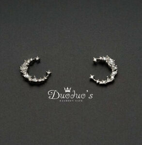 925 Sterling Silver Zircon Monn Stud Earrings