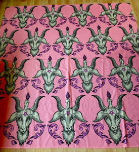 NEW Pink Satanic Goat Shower Curtain Fabric Goth Metal Punk Pentagram DOLLS KILL