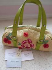 CHRISTIAN DIOR Limited Edition Floral Embroidery Green Straw Purse Handbag.