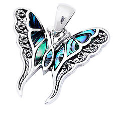 "Sterling Silver Pendant 1""long Abalone Shell Filigree Butterfly .925"