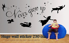 Peter pan never grow old quote  wall decal sticker over 2 meters in length
