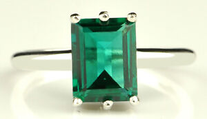 14KT White Gold / 1.50Ct Rectangle Cut AA Natural Zambian Emerald Solitaire Ring