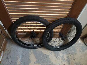 2 ALIENATION Plain Black BMX wheels 6061- odyssey tires haro profile gt fit