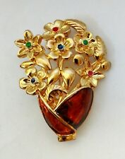Flower Bouquet Brooch Pin Chestnut Enamel Gloss Vase Leaves Gold Tone Finish