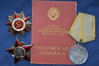 ORIGINAL SOVIET RUSSIAN GROUP SET PATRIOTIC WAR ORDER BADGE MEDAL WITH DOCUMENTS