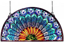 Stained Glass Peacock Window Panel Half Round Circle Hanging Wall Decor Art 35