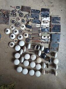 Large Lot Of Antique Vintage Porcelain Door Knobs Locks Fasteners White hardware