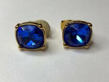Signed Swarovski Crystal Earrings Blue Square Gold Plated Clip On