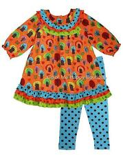 New Girls Boutique Cotton Kids sz 6x Orange TREES Dress Outfit Clothes Fall $90
