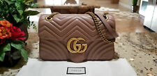 %$NEW Authentic Gucci GG Marmont Medium Beige Matelass¨¦ Leather Shoulder Bag