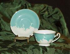 Egrets Nippon Cup & Saucer Blue & White Egrets Gilded HP BNC Japan Vintage Rare