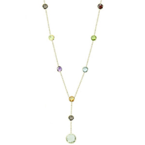 14K Yellow Gold Fancy Cut Round Shaped Gemstones Necklace 16 Inches