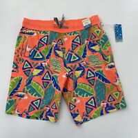 "Departwest Sz Small Board Shorts Elastic Waist 7"" Inseam Orange Leaf Pattern"