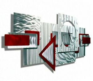 Metal Wall Art Clock - Large NEW SIGNED By Jon Allen  Red + Silver Art Clock -