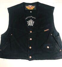 Harley Davidson Mens Black Embroidered Denim Jean Vest Jacket Sz XL