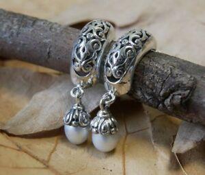 Ajoure Freshwater Pearl Stud Earrings Fine Sterling Silver New Jewelry Free Post