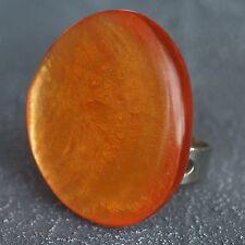 Neu RING mit CAPIZ MUSCHEL orange GRÖßENVERSTELLBAR FINGERRING Farbe silber