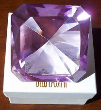 OLEG CASSINI LARGE LAVENDER CRYSTAL PAPERWEIGHT. EMERALD CUT DIAMOND SHAPE