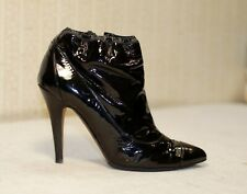 1500$ CHANEL black leather pointed toe ankle booties heels 38.5-38 us7.5 uk5-5.5