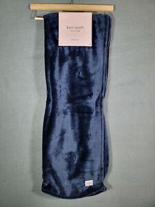 "Kate Spade Black Fleece Throw Blanket 50"" x 70"" Soft Fluffy Navy Blue Cute Gift"