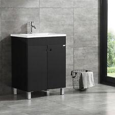 Bathroom Vanity Cabinet W/Undermount Resin Sink & Faucet Modern Design Black New